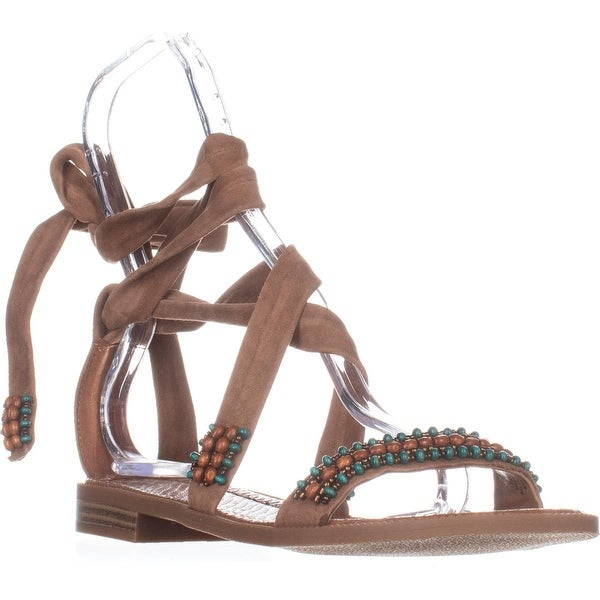 Nine West Xoanna Flat Ankle-Strap Sandals, Dark Natural