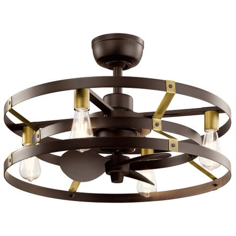 Kichler Cavelli 13 inch Fandelier in Satin Natural Bronze with Natural Brass Accents