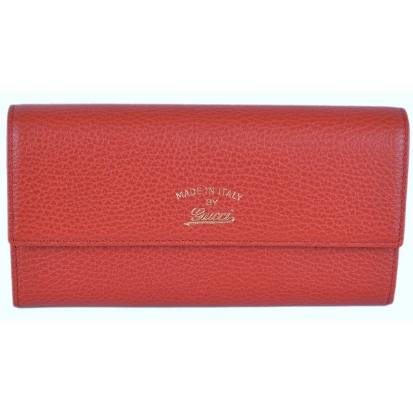 Gucci Women's 3354496 Red Leather Trademark Logo Swing Continental Wallet