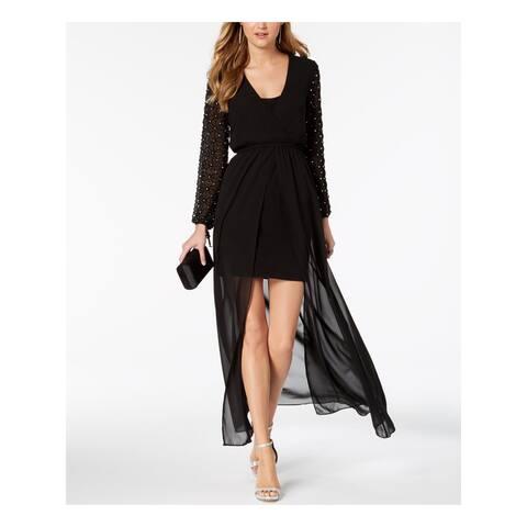 BETSY & ADAM Black Long Sleeve Mini Hi-Lo Dress Size 6