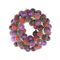 "17.5"" Sugared Fruit Plum, Apple and Pomegranate Christmas Wreath - Unlit - PURPLE"