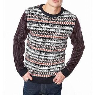 Native Youth NEW White Mens Size XL Fair Isle Crewneck Sweater