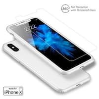 Indigi iPhone X Tempered Glass Screen 360 Protective Case Cover White