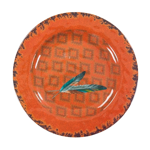 HiEnd Accents Feather Design Melamine Dinner Plate, 4 PC