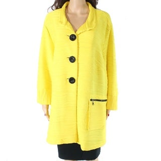 Multiples Women's Jacket Yellow Size 2X Plus Button Front Textured