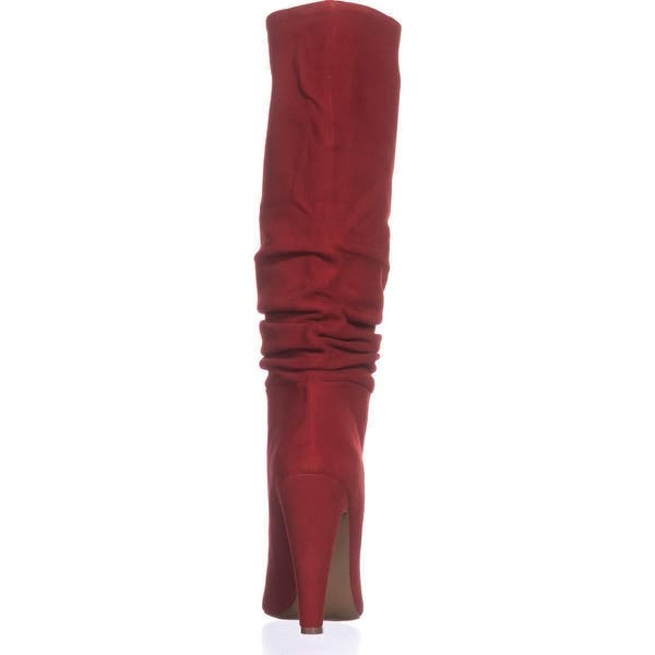 best sale detailed images sale usa online Shop Steve Madden Carrie Heeled Knee High Boots, Red Suede - On ...