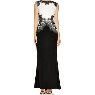 Tadashi Shoji Black Women Size 8 Lace Embellish Trumpet Ball Gown
