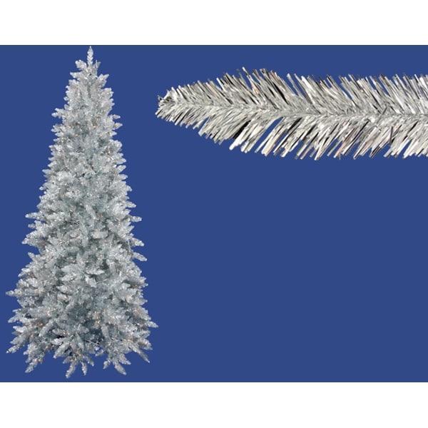 14' Pre-Lit Slim Silver Ashley Spruce Tinsel Christmas Tree - Clear Lights