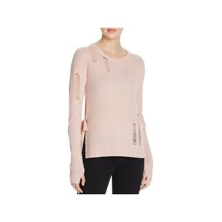 Pam & Gela Womens Petites Crewneck Sweater Knit Distressed - p