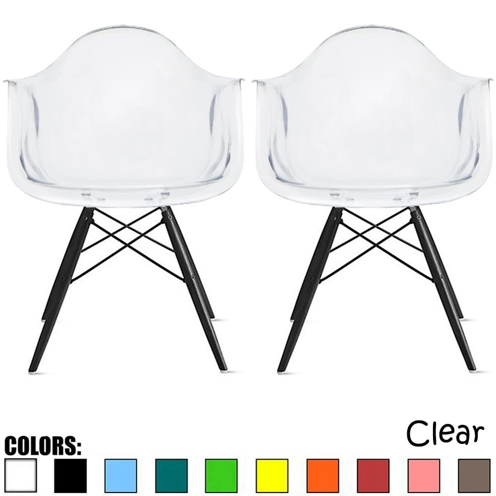 2xhome - Set of 2 Clear Transparent Designer Acrylic Plastic Chair With Arms Armchairs Dining  Dark Black Eiffel