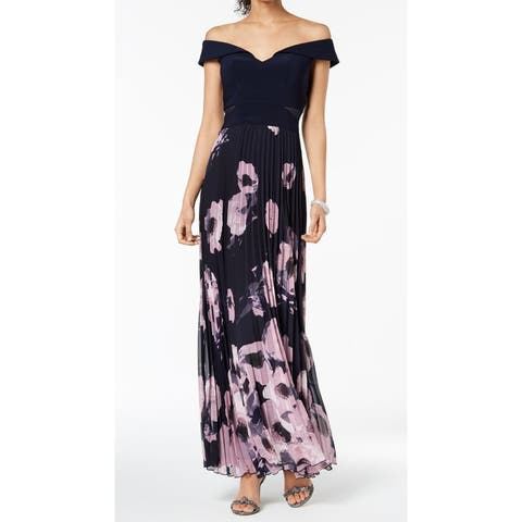 0128aa4ae Xscape Blue Women Size 4 Off The Shoulder Floral Printed Maxi Dress