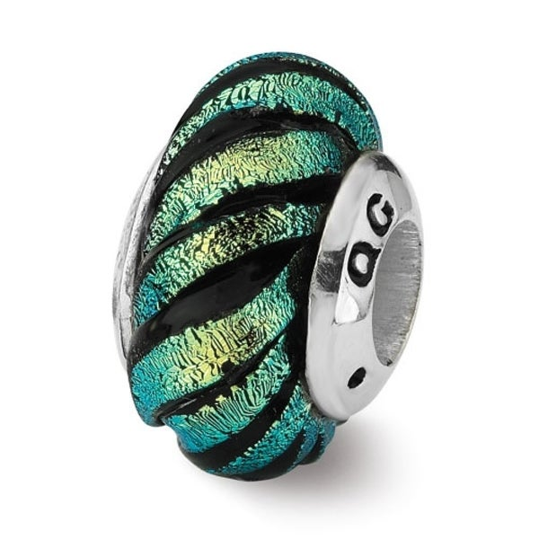 Sterling Silver Reflections Green Swirl Dichroic Glass Bead (4mm Diameter Hole)