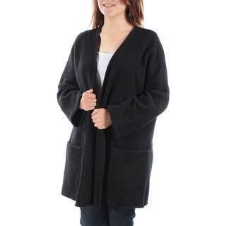 ALFANI $179 Womens New 1430 Black Pocketed Open Cardigan Long Sleeve Top S B+B