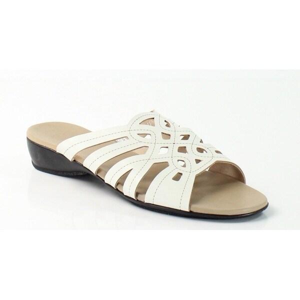 Munro NEW White Women's Shoes Size 5W Malia Leather Slides