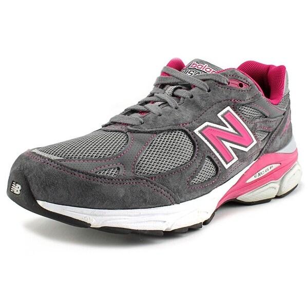 New Balance W990 Women D Round Toe Suede Gray Running Shoe