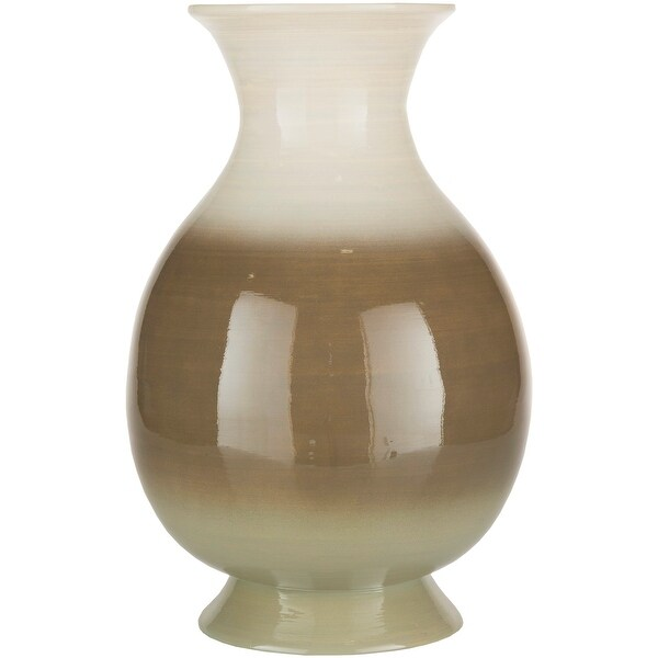 """16.5"""" Brown and White Glossy Finish Bamboo Vase - N/A"""