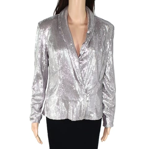 INC Womens Jacket Silver Size Small S Shiny Sequin Blazer Zipper Hem