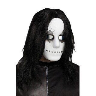 Fun World Freaky Face White Mask With Hair - Black/White/Red