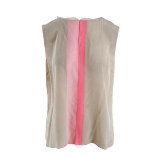 Elie Tahari Womens Vena Silk Colorblock Casual Top - L