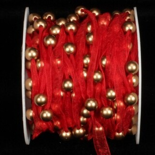 Red Organdy Craft Ribbon with Pearls 9.5mm x 27 Yards