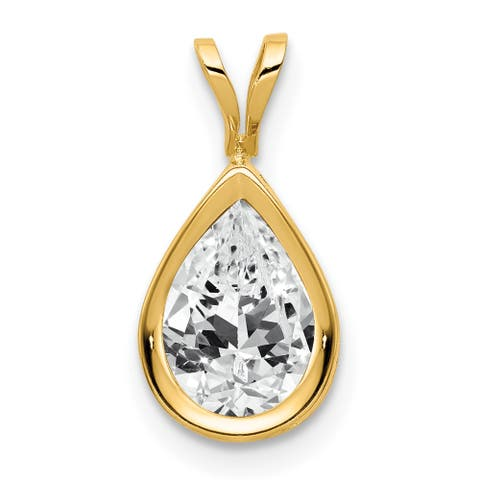 14K Yellow Gold 9x6mm Pear Cubic Zirconia Bezel Pendant with 18-inch Cable Chain By Versil
