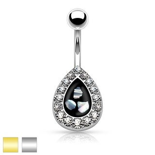 Crystal Paved Tear Drop with Mother of Pearl Inlaid Center 316L Surgical Steel Belly Button Rings (Option: Black)