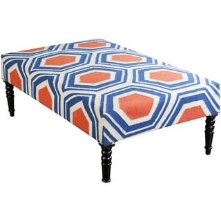 """52"""" Denim Blue, Orange and Light Beige Upholstered Wool and Wooden Foot Stool Ottoman"""