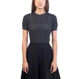 Prada Women's Alpaca Cotton Blend Knitted Shirt Grey