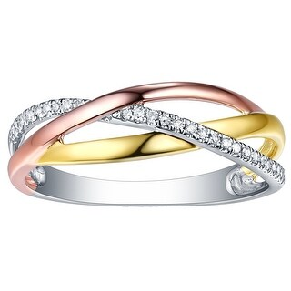 Prism Jewel 0.08CT G-H/I1 Natural Diamond Tri-Color Gold Cross Over Ring - White G-H