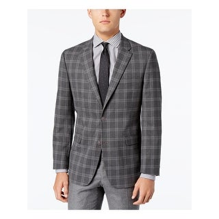 Tommy Hilfiger Mens Ethan Two-Button Blazer Plaid Business - 38l