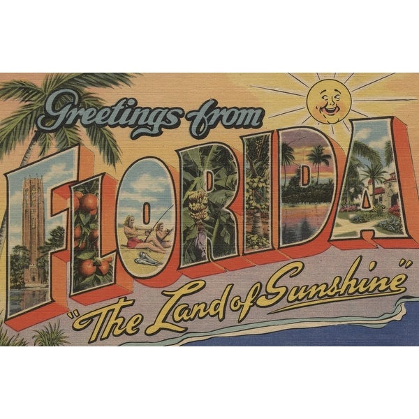 Greetings from Florida - The Land of Sunshine (Art Print - Multiple Sizes  Available) - 9 x 12 Art Print