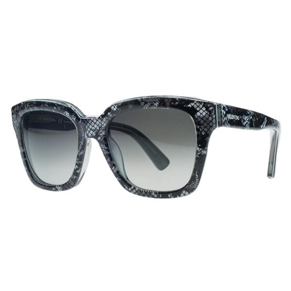 d962383fc617d Shop Valentino V667 S 049 Silver Pearl Rectangle Sunglasses - Free ...