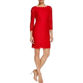 Adrianna Papell Womens Petites Cocktail Dress Lace 3/4 Sleeves