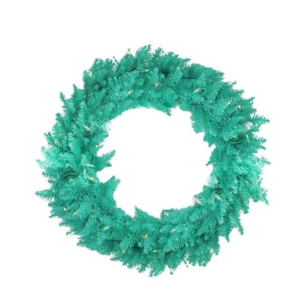 "24"" Pre-Lit Seafoam Green Ashley Spruce Christmas Wreath - Clear & Green Lights"