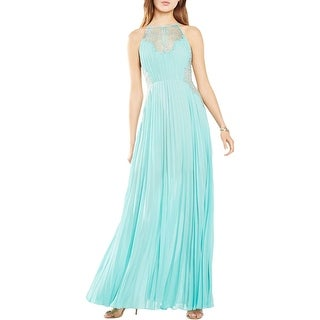 BCBG Max Azria Womens Misty Evening Dress Fan Pleat Lace Trim - 12