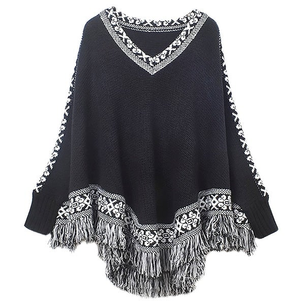 QZUnique Women's Batwing Sleeve Knit Poncho Cape V Neck Loose Sweater