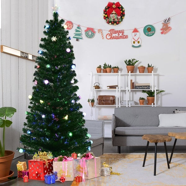 Lead Free Christmas Trees: Shop Gymax Pre-Lit 7.5' Fiber Optic Multicolor LED Lights