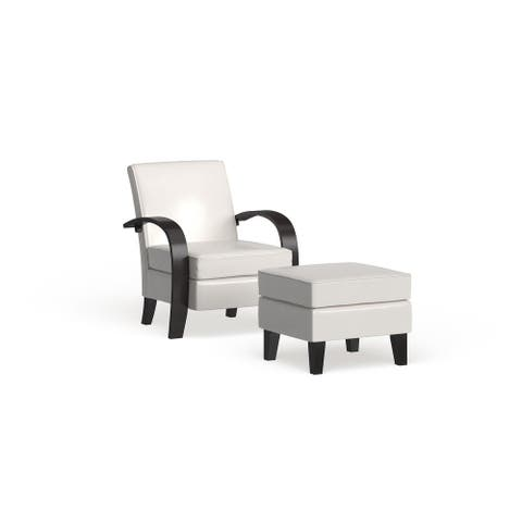 Copper Grove Jessup White Bonded Leather Accent Arm Chair with Ottoman