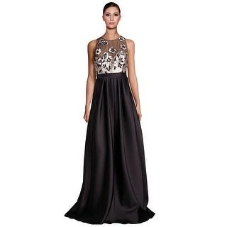 Carmen Marc Valvo Embellished Floral Applique Evening Gown Dress Black/Cream