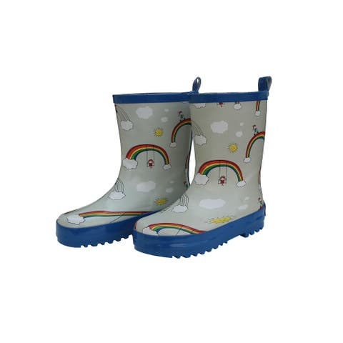 Foxfire Girls Multi Color Rainbow Print Back Handle Rain Boots