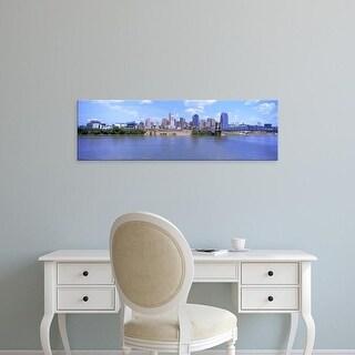 Easy Art Prints Panoramic Image 'Paul Brown Stadium, John A. Roebling Bridge, Ohio River, Cincinnati, Ohio' Canvas Art