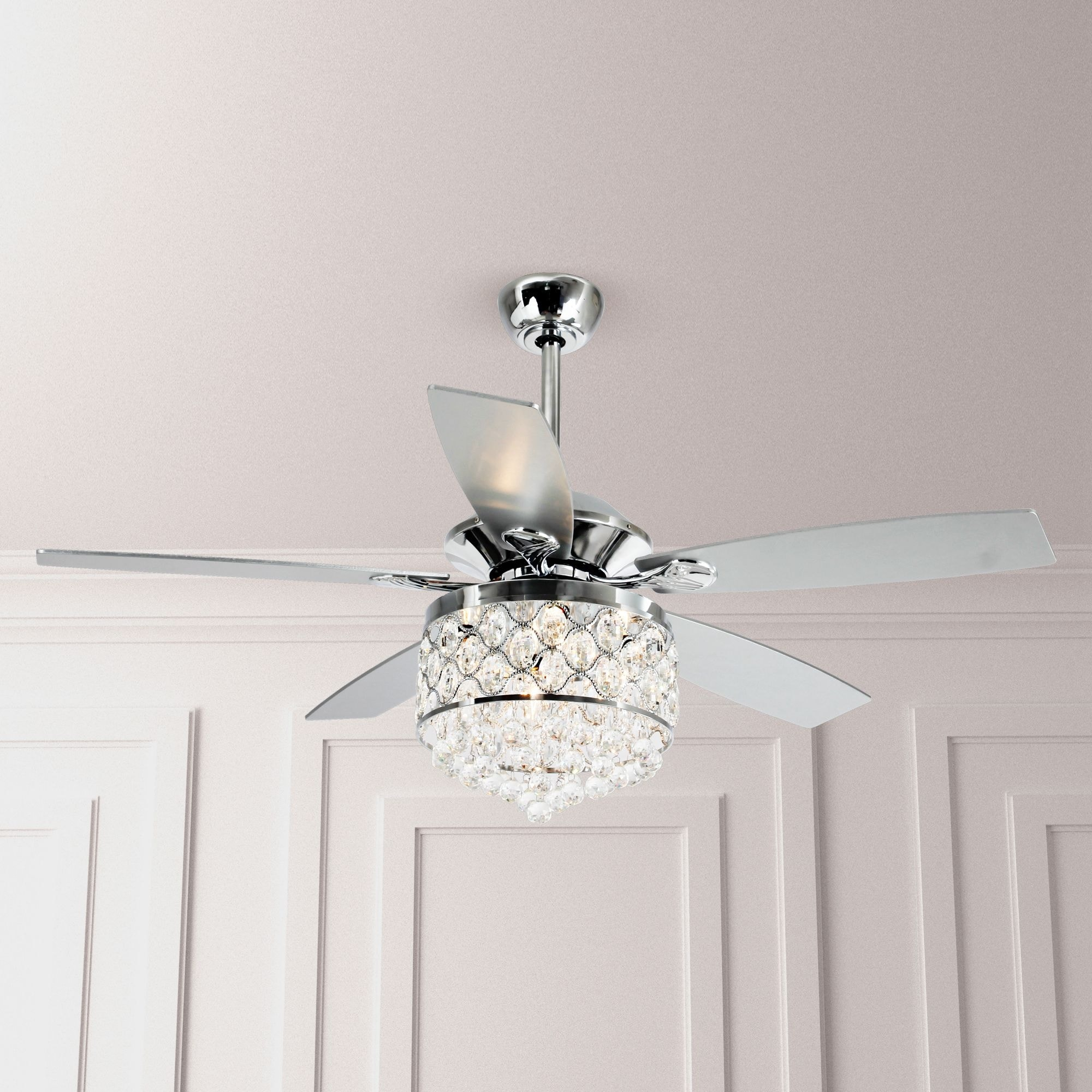 Chrome Crystal 52 Inch 5 Blade Ceiling Fan With Remote