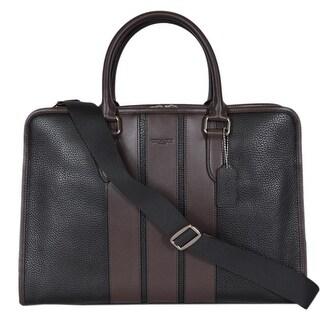 Coach Men's F72308 Black Pebbled Leather Crossbody Briefcase Bag