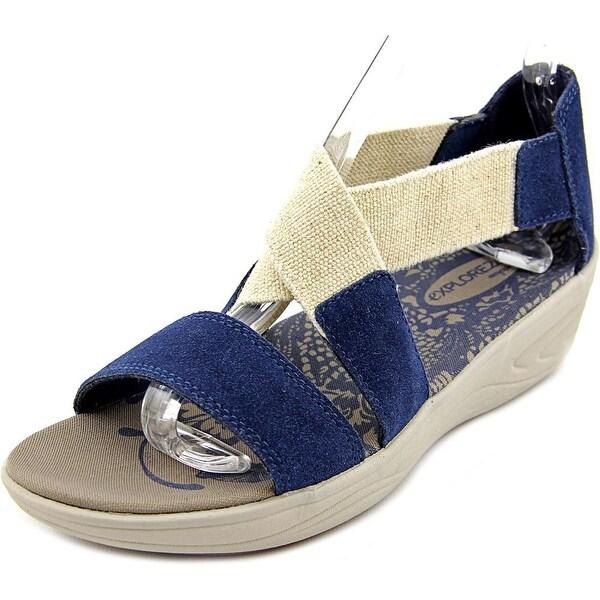 Easy Spirit Matilde Women N/S Open Toe Canvas Blue Wedge Sandal