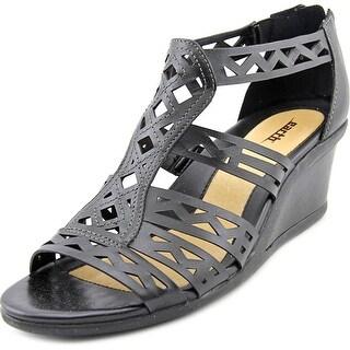 Earth Petal Women Open Toe Leather Black Wedge Sandal