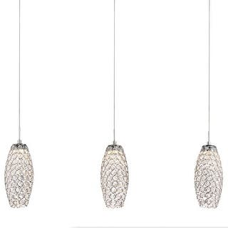 """Platinum PCIN540 Infinity 3 Light 32"""" Wide Low Voltage LED Linear Pendant with Crystal Shades