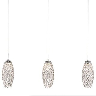 """Platinum PCIN540 Infinity 3 Light 32"""" Wide Low Voltage LED Linear Pendant with Crystal Shades"""