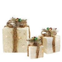 Set of 3 Lighted Cream and Gold Sisal Gift Boxes Christmas Yard Art Decorations - WHITE