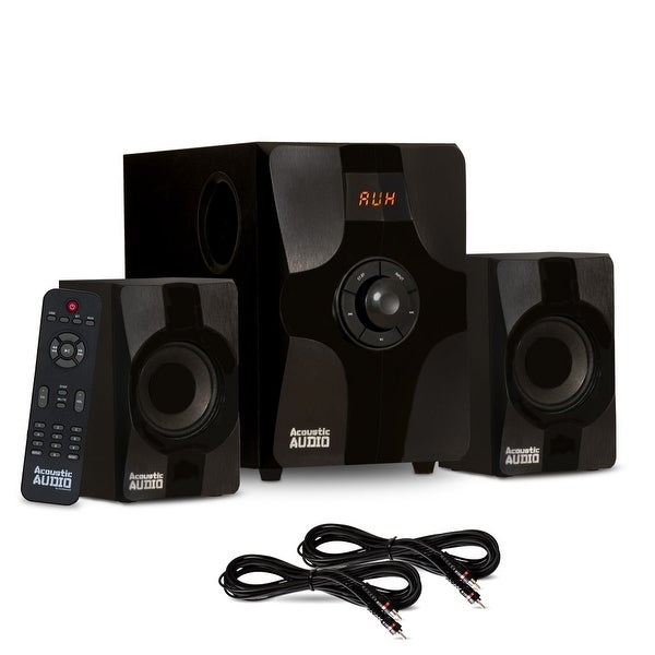 Acoustic Audio AA2131 Bluetooth Home 2.1 Speaker System with 2 Ext. Cables