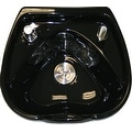 LCL Beauty Heart Shaped Ceramic Black Shampoo Bowl with Vacuum Breaker and 6 Towels - Thumbnail 3